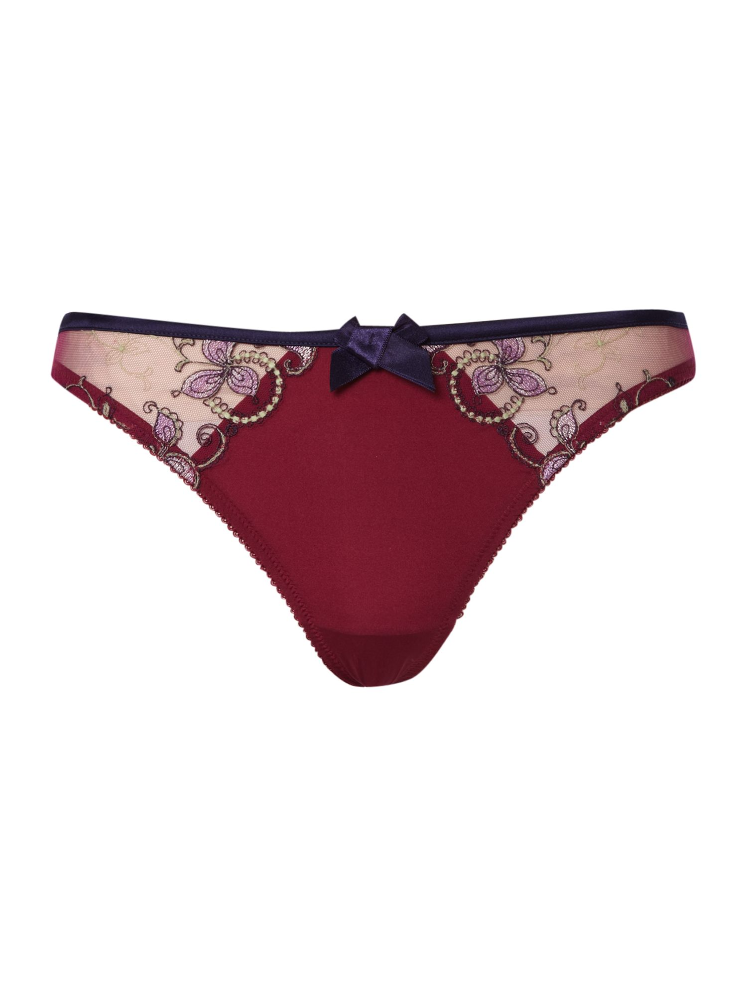 Ombre embroidery thong