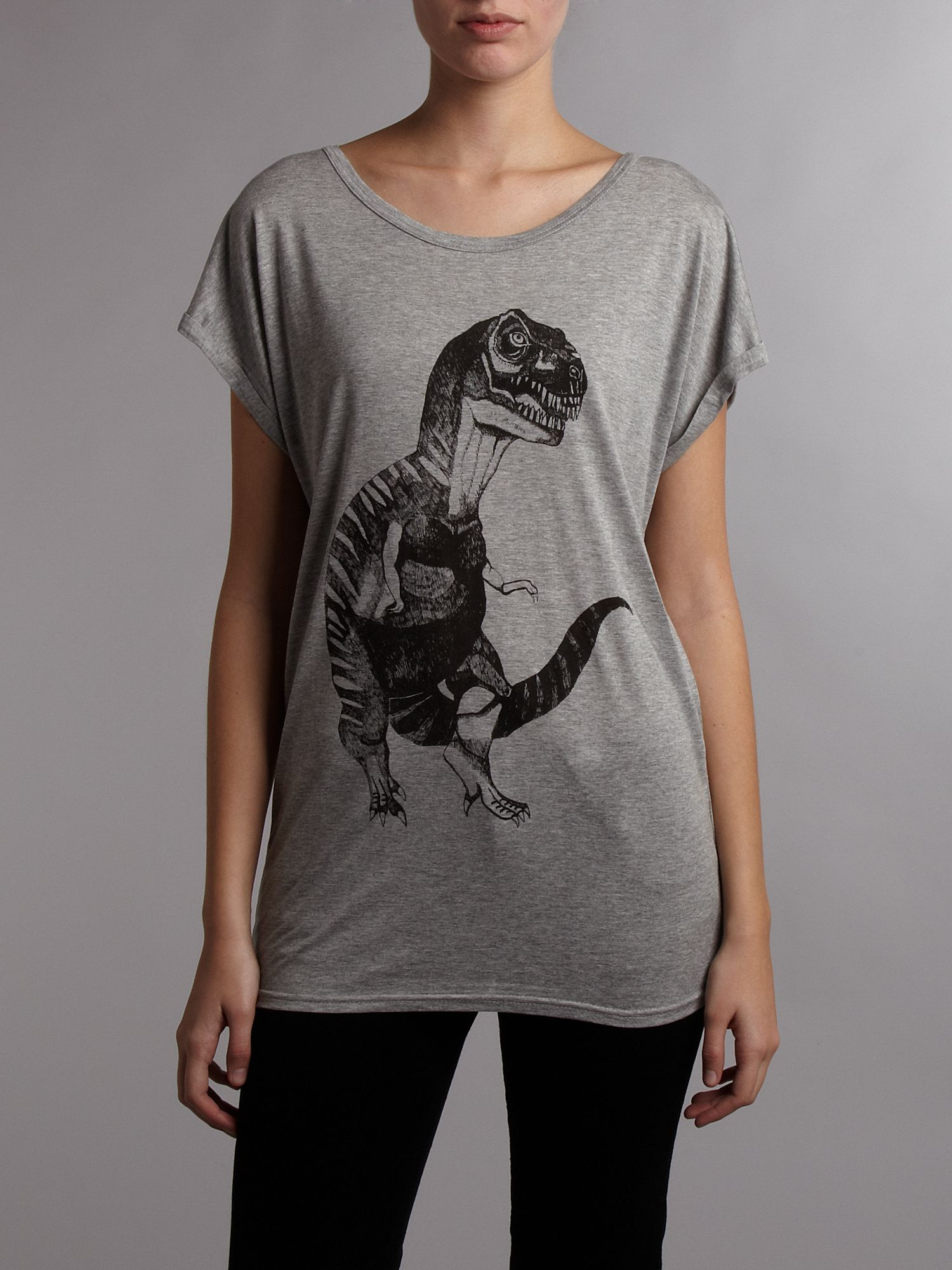 Brat and Suzie Short sleeve t-rex tee Grey product image