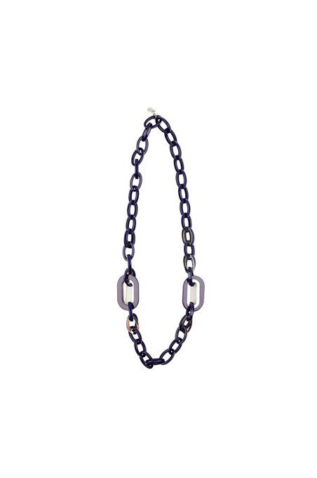 Planet Long link necklace Navy