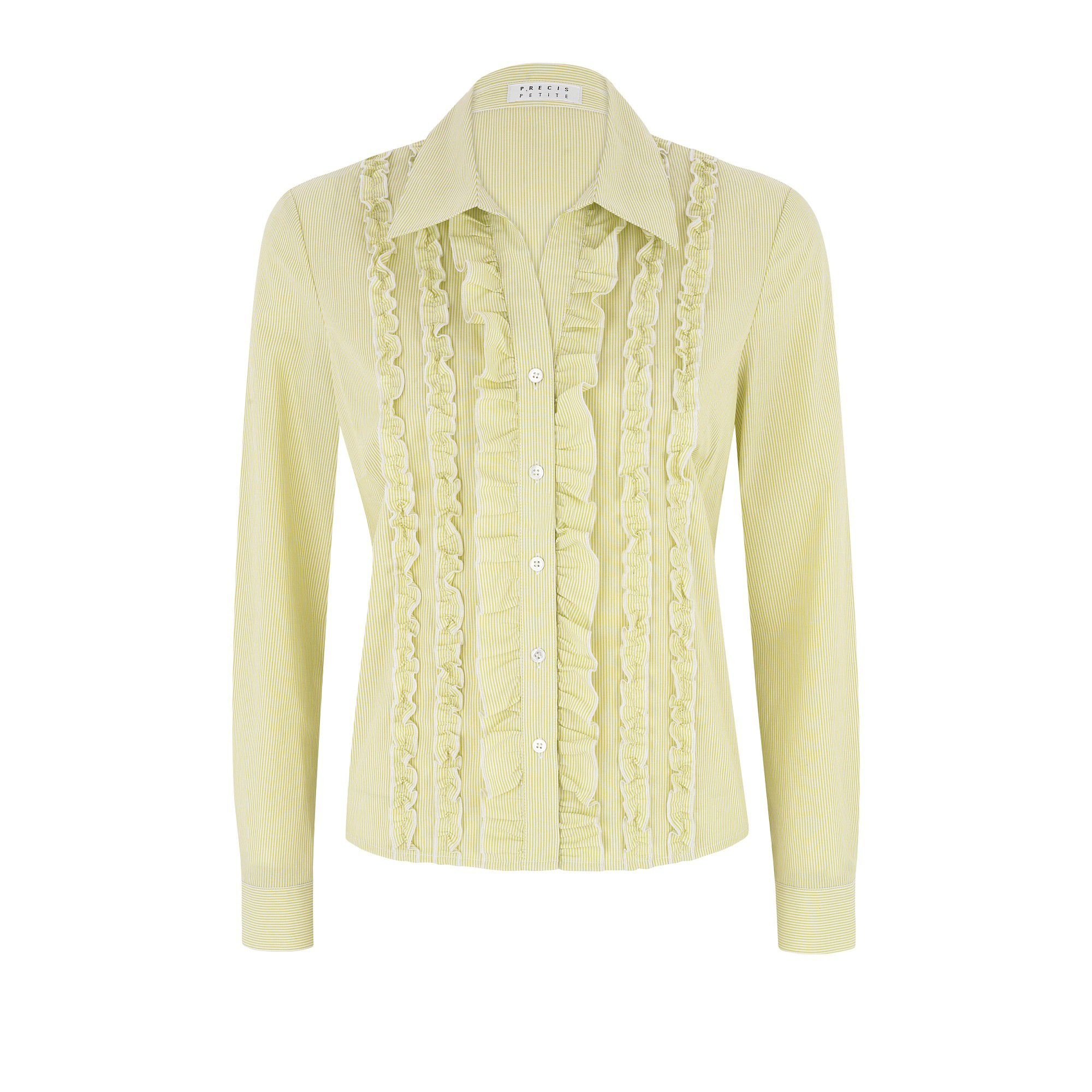 Precis Petite Stripe frill blouse - Yellow 6,6,16,16,14,14 product image