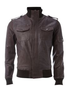 Jack & Jones Zip-through leather jacket