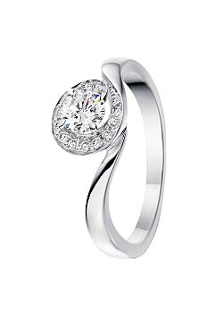 Signature 18ct Gold 0.75ct Diamond Pave Set Ring - White Gold