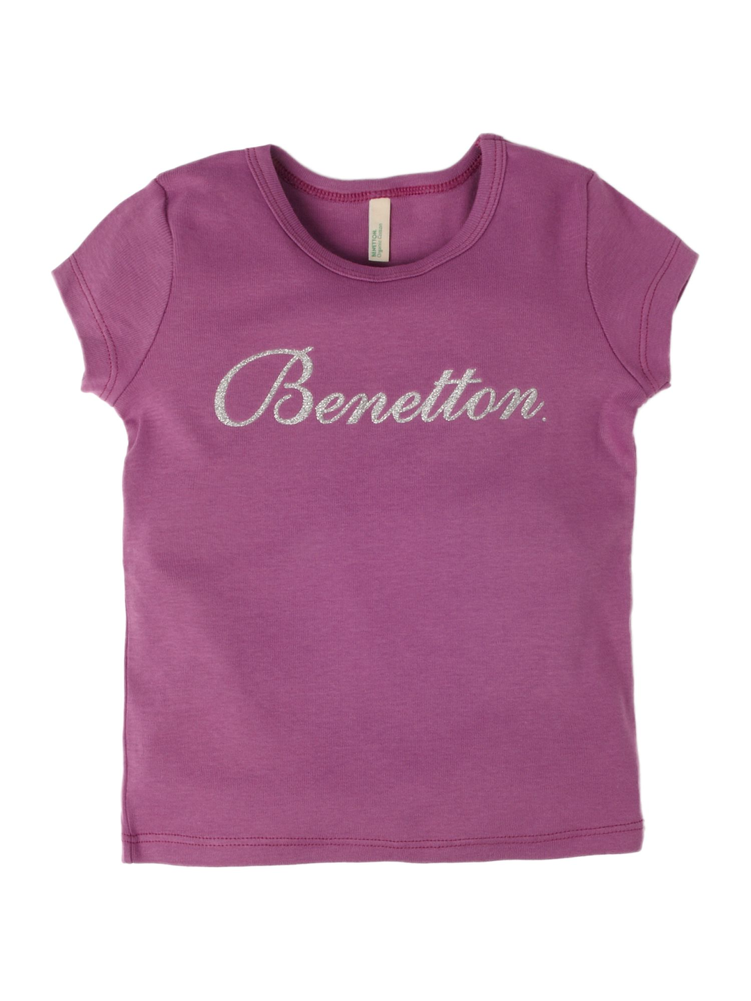Benetton Short-sleeved logo crew neck T-shirt Purple product image