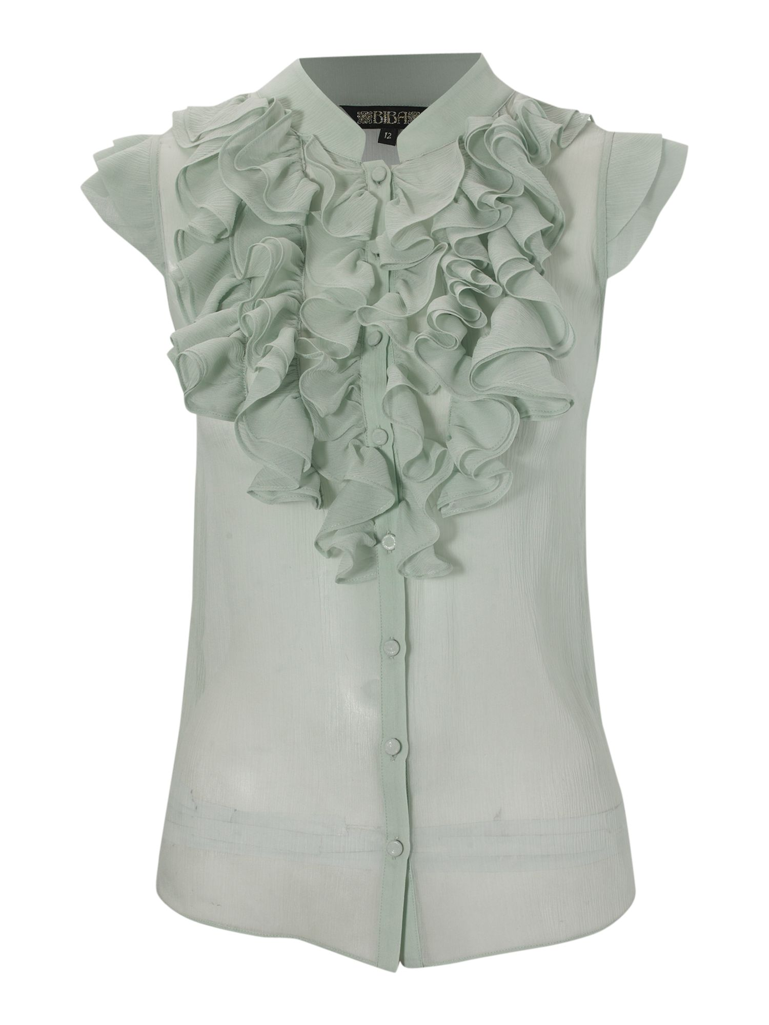 Biba Sleeveless silk frill blouse - Mint product image