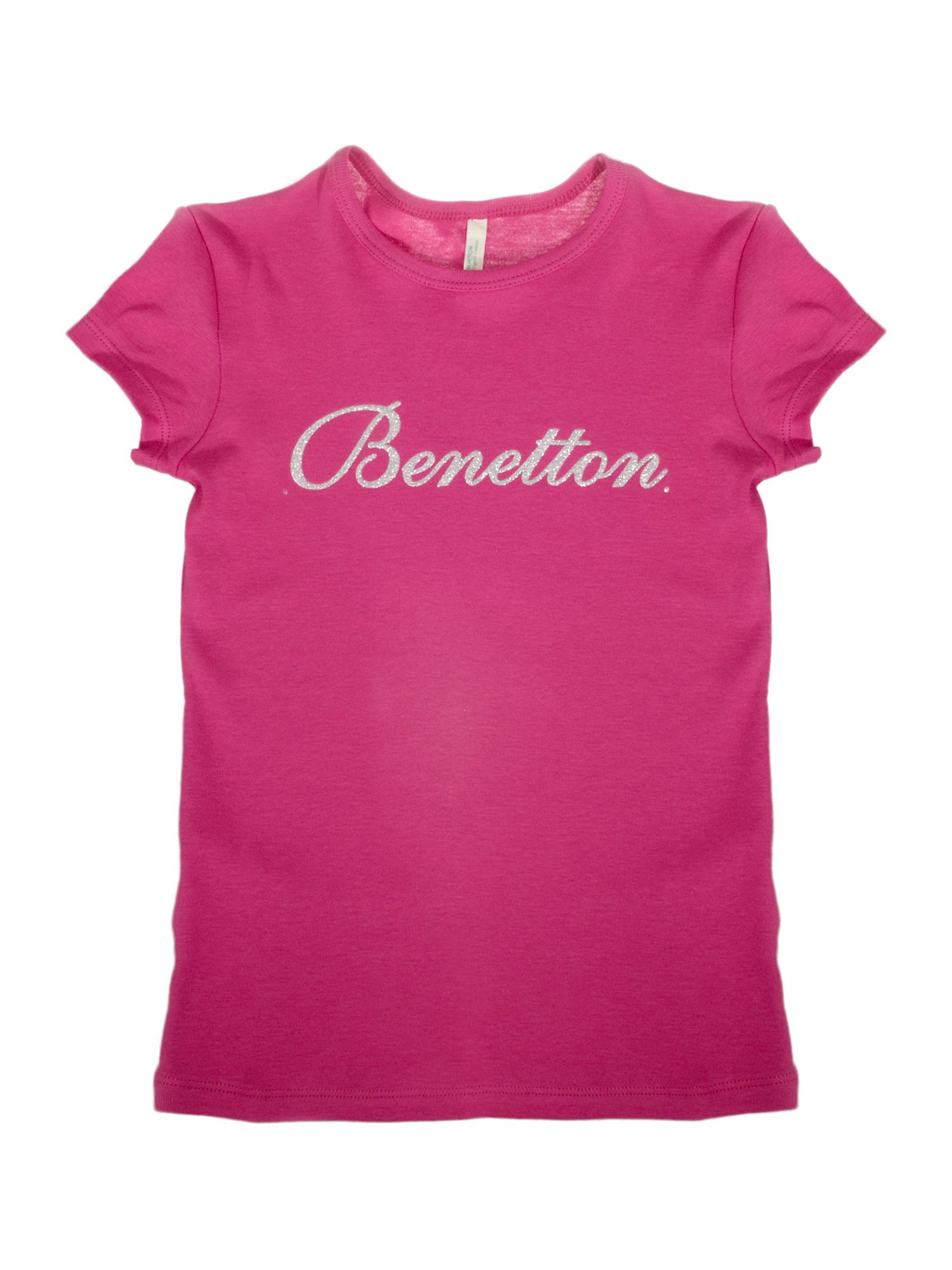 Benetton Short-sleeved logo crew neck T-shirt Pink product image
