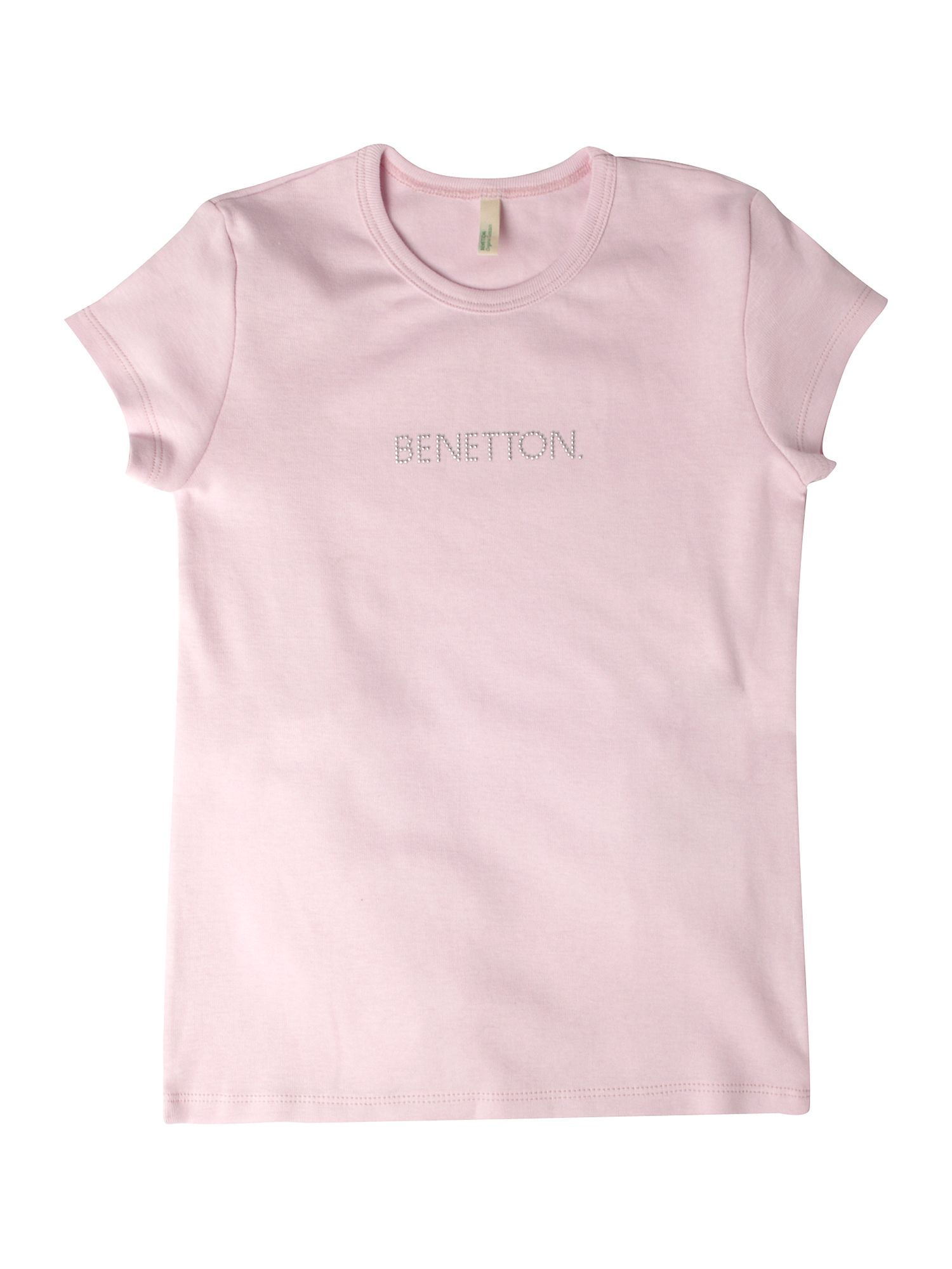 Benetton Short-sleeved logo crew neck T-shirt Pastel Pink product image