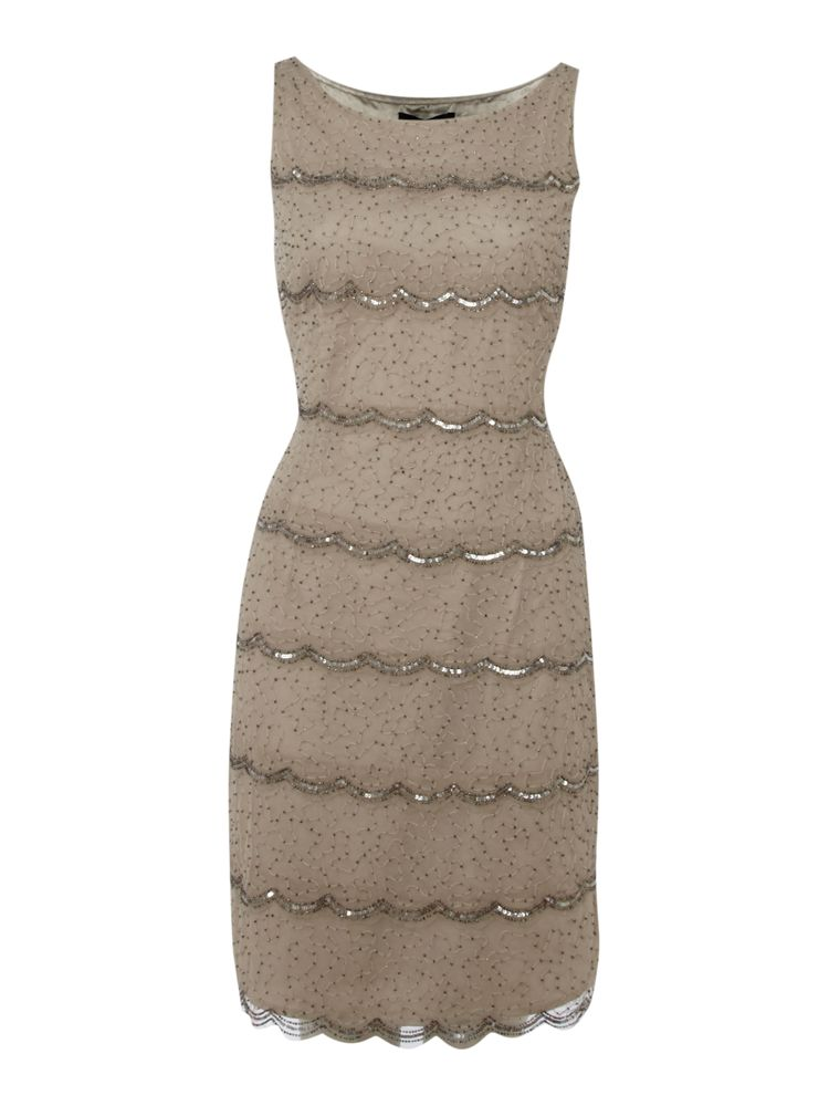 Pied a terre vintage scallop sequin panel dress in silver for Quality classic house of fraser