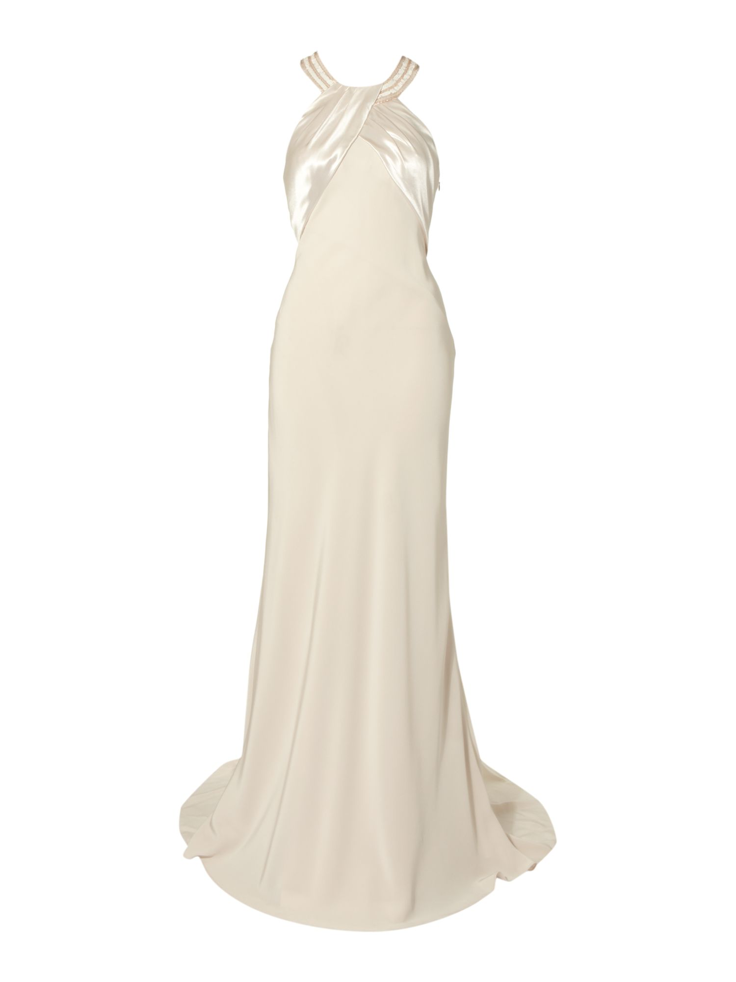 Women's Biba Amber beaded back halter bridal gown, Ivory