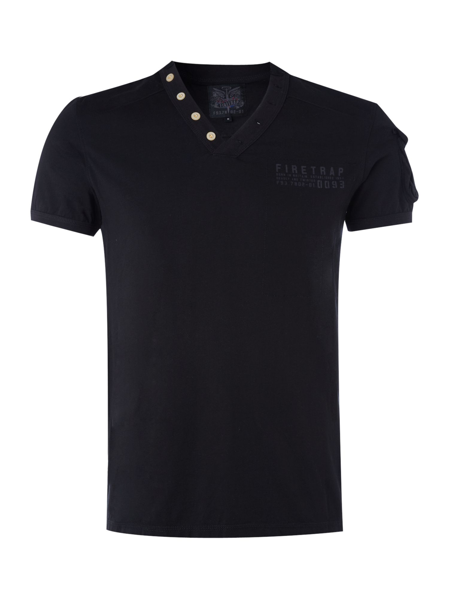 Firetrap Mens Firetrap V-neck button detail T-shirt, product image