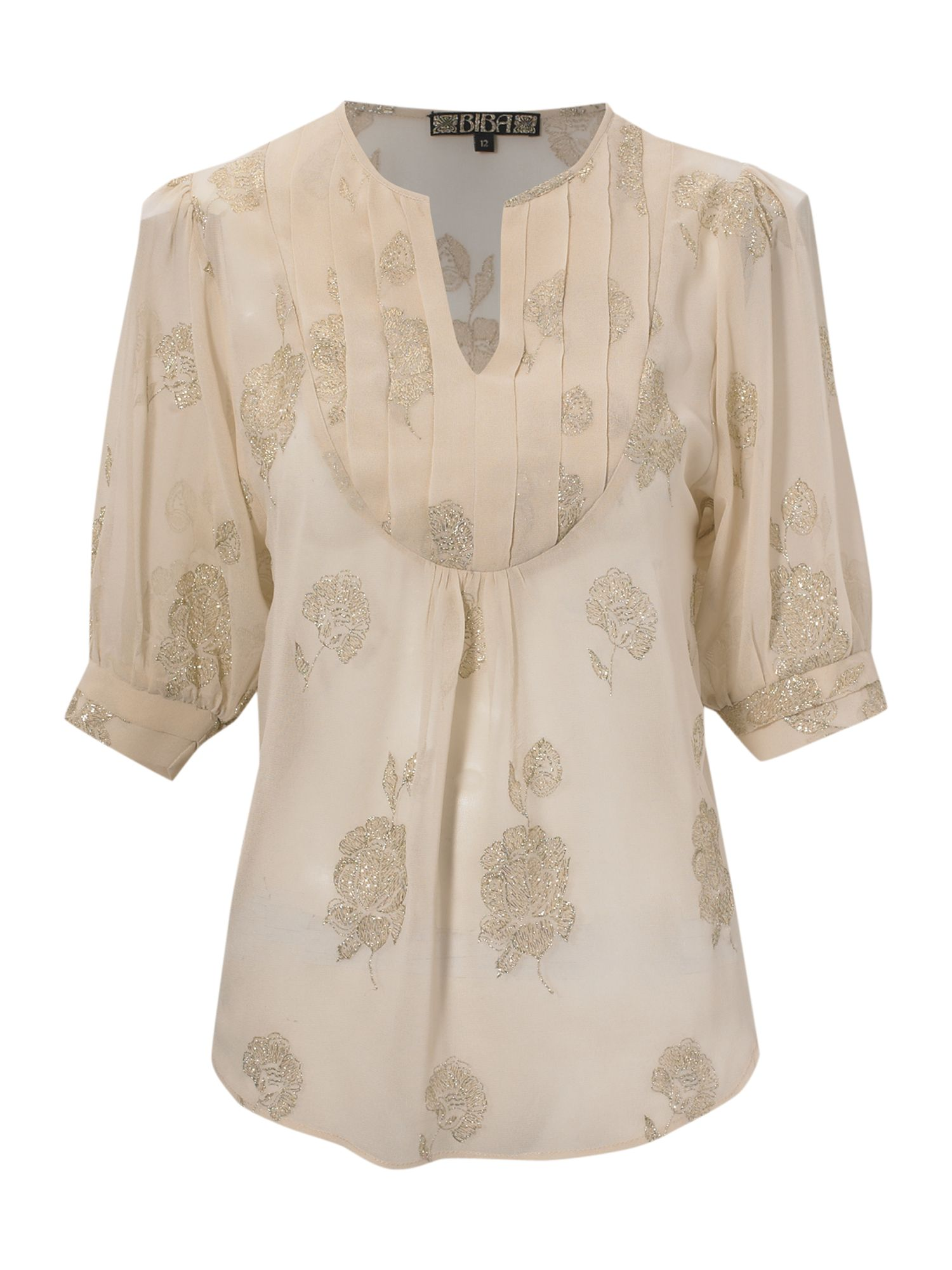 Pin tuck jaquard blouse, Cream 147104854