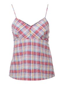 Therapy Yarn dye check woven camisole