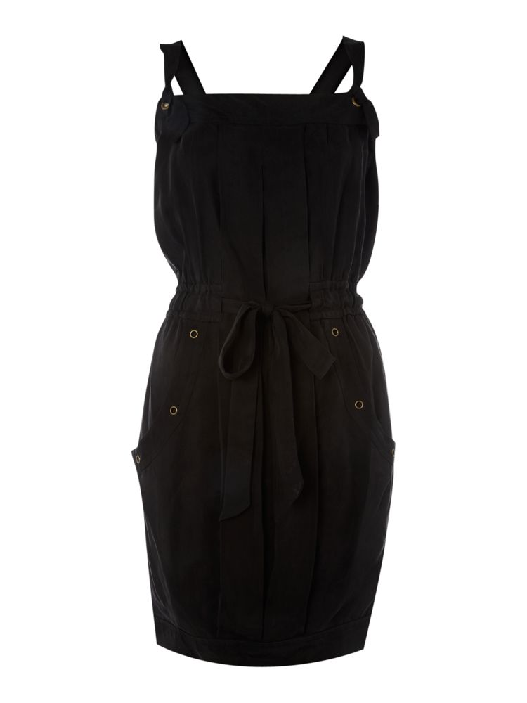 Pied-A-Terre-Cupro-Button-Detail-Dress-In-Black