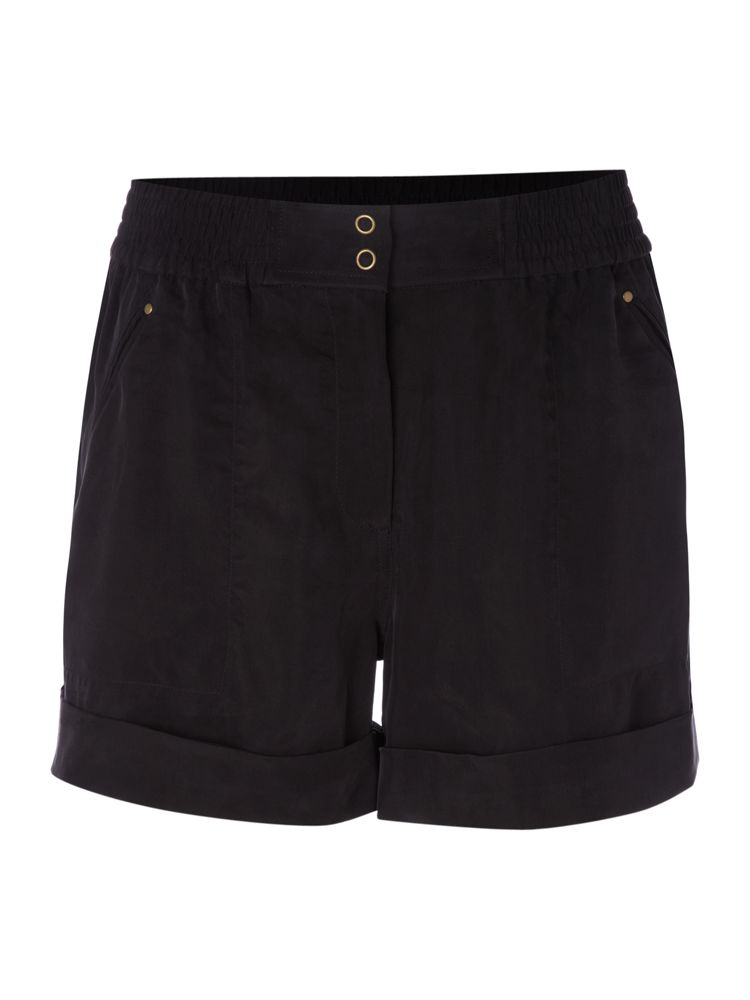 Pied-A-Terre-Cupro-Popper-Shorts-In-Black