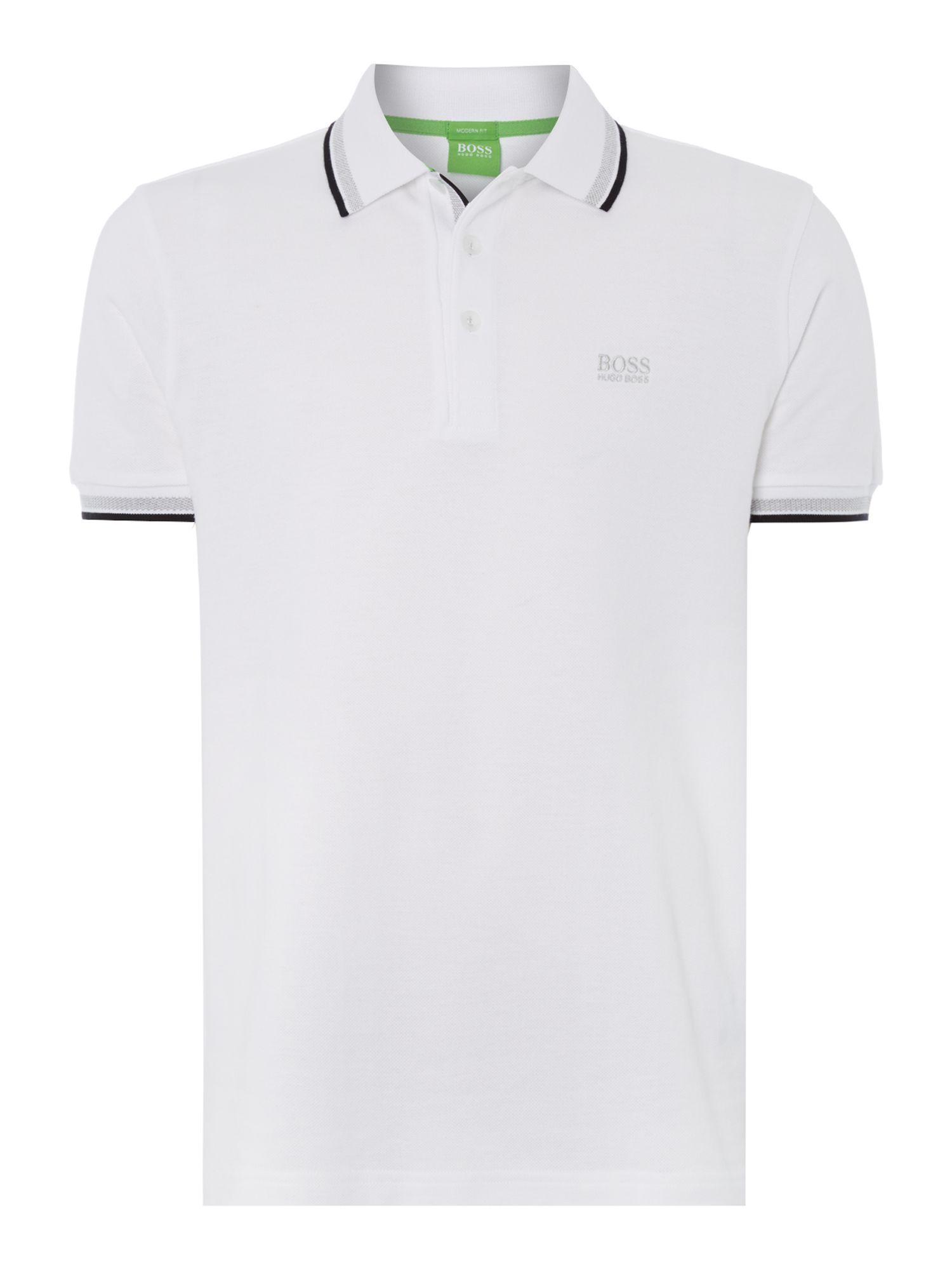 Men's Hugo Boss Paddy Regular Fit Tipped Logo Polo Shirt, White
