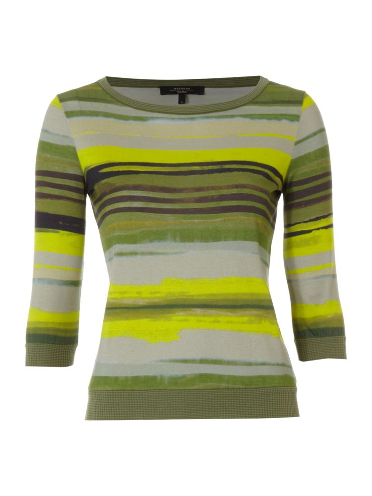 Max-Mara-Weekend-Stripe-Print-Short-Sleeve-Knit-In-Green