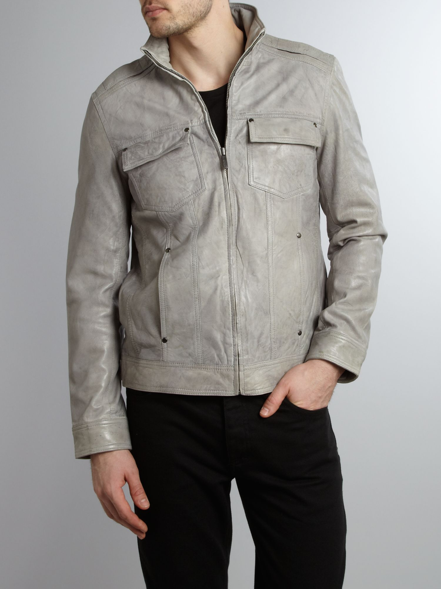 Distressed look leather funnel neck jacket