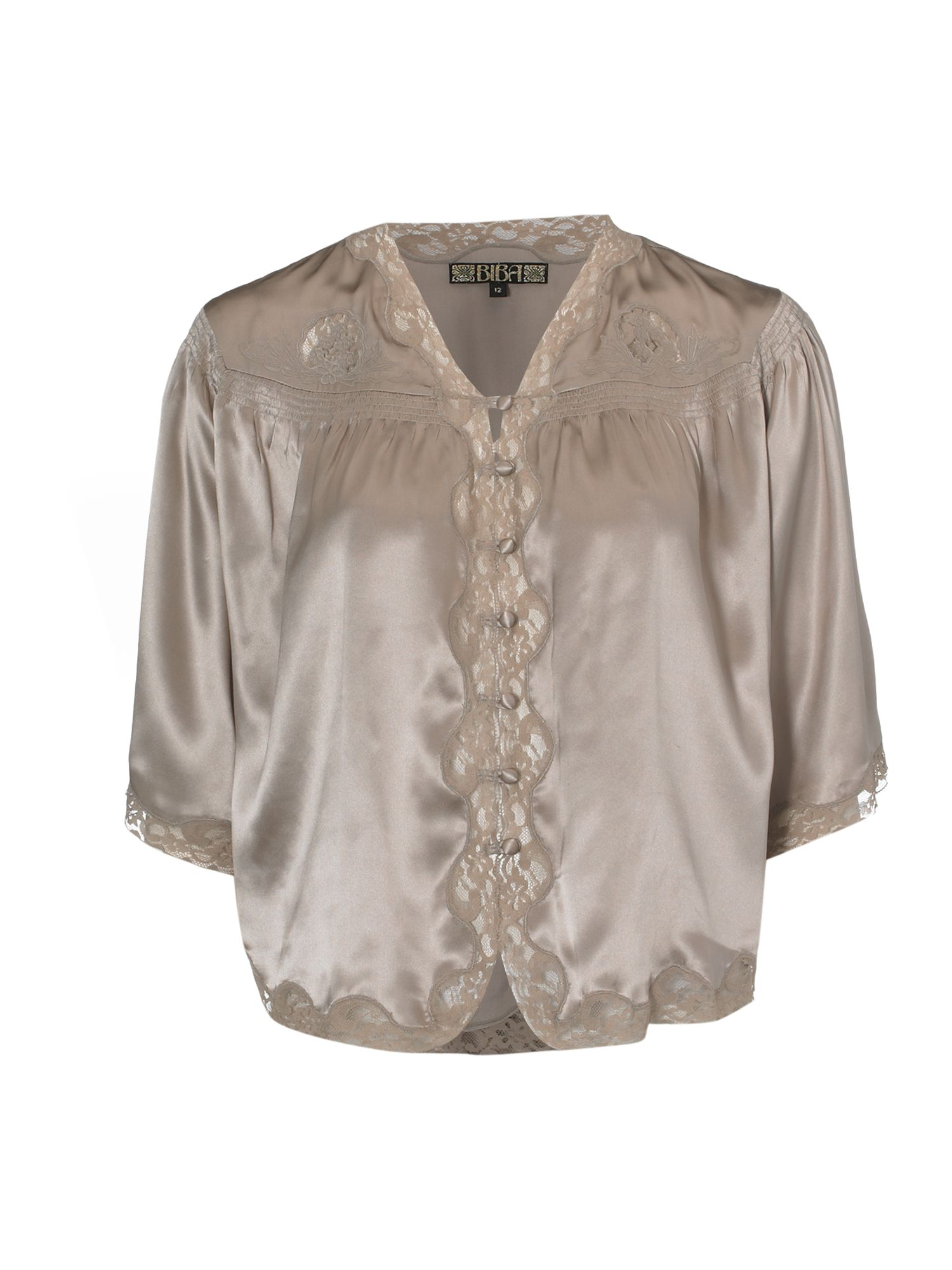 Silk and lace button front blouse, Mink