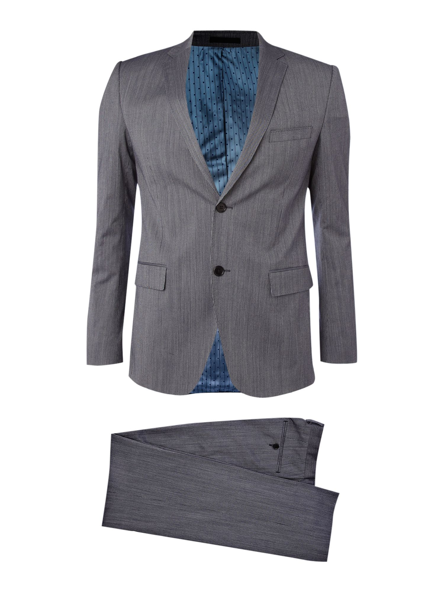 Single breasted denim look slim fit suit
