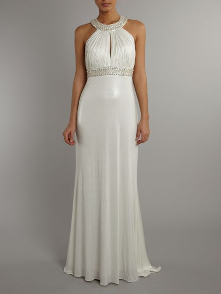 JS Collections Keyhole beaded halter dress