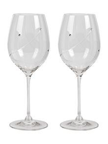 2 red wine glasses made with crystal