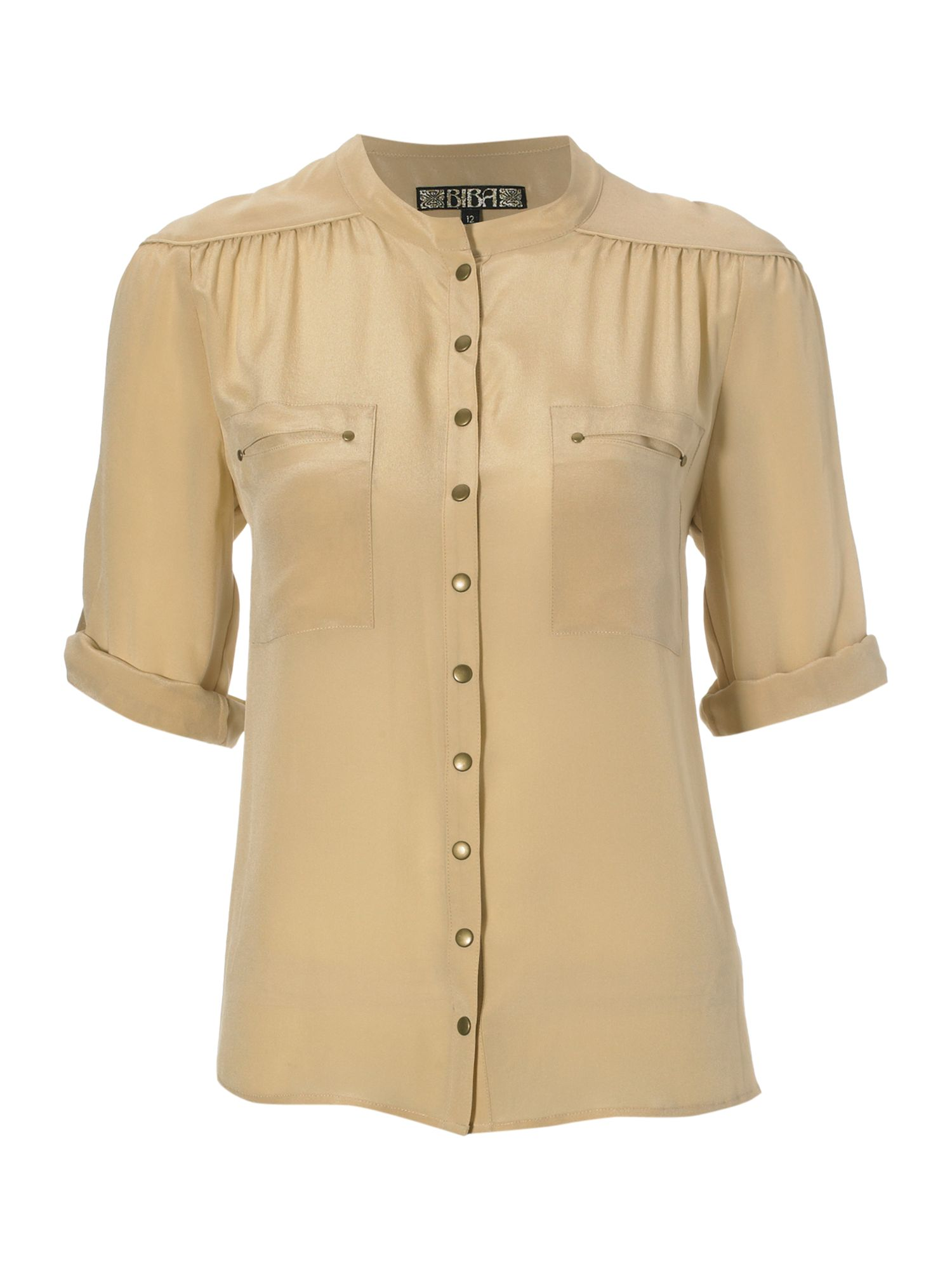 Womens Biba Silk safari blouse, Cream