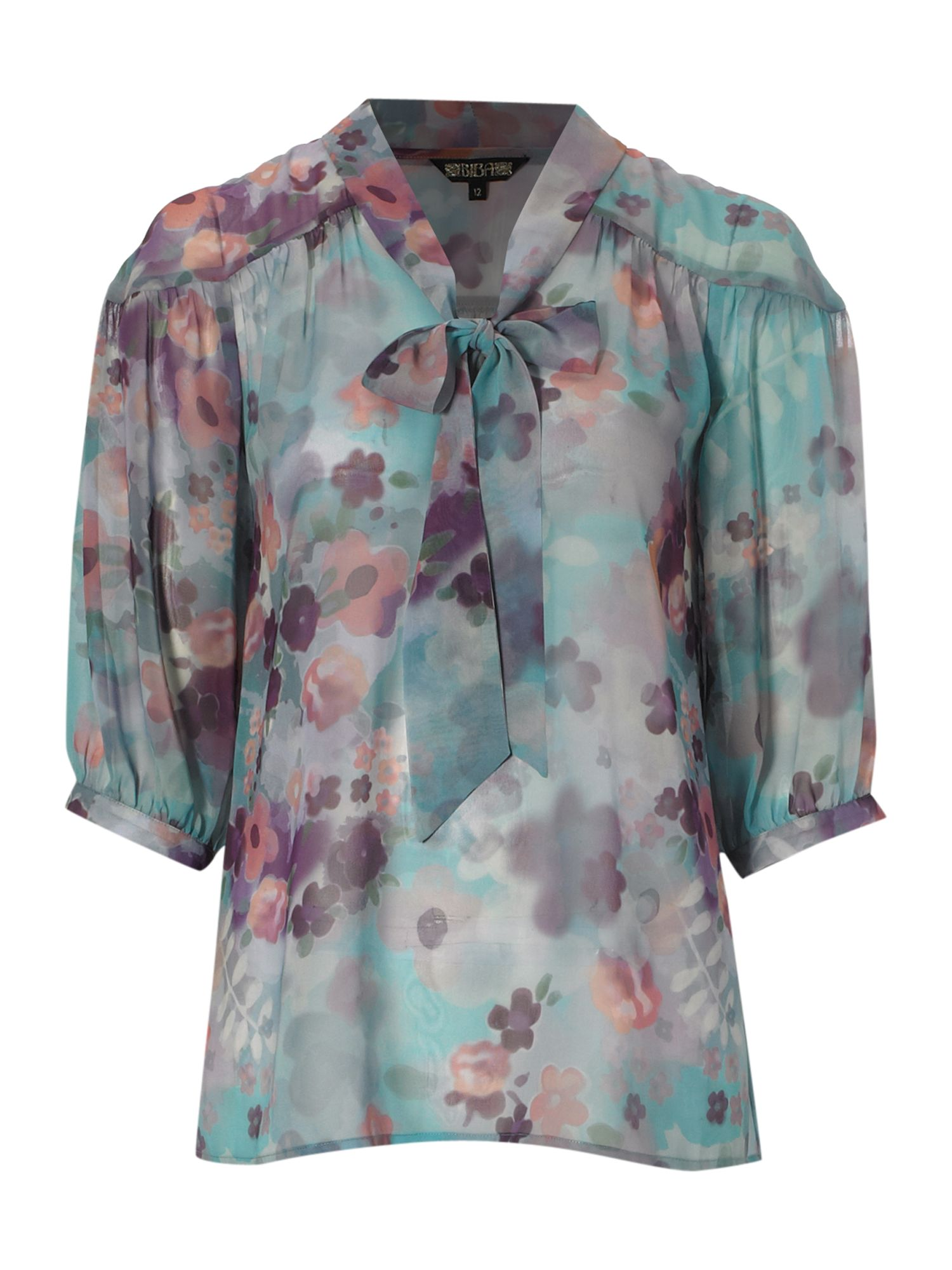 Pussy bow print blouse - Multi-Coloured 12,14,10