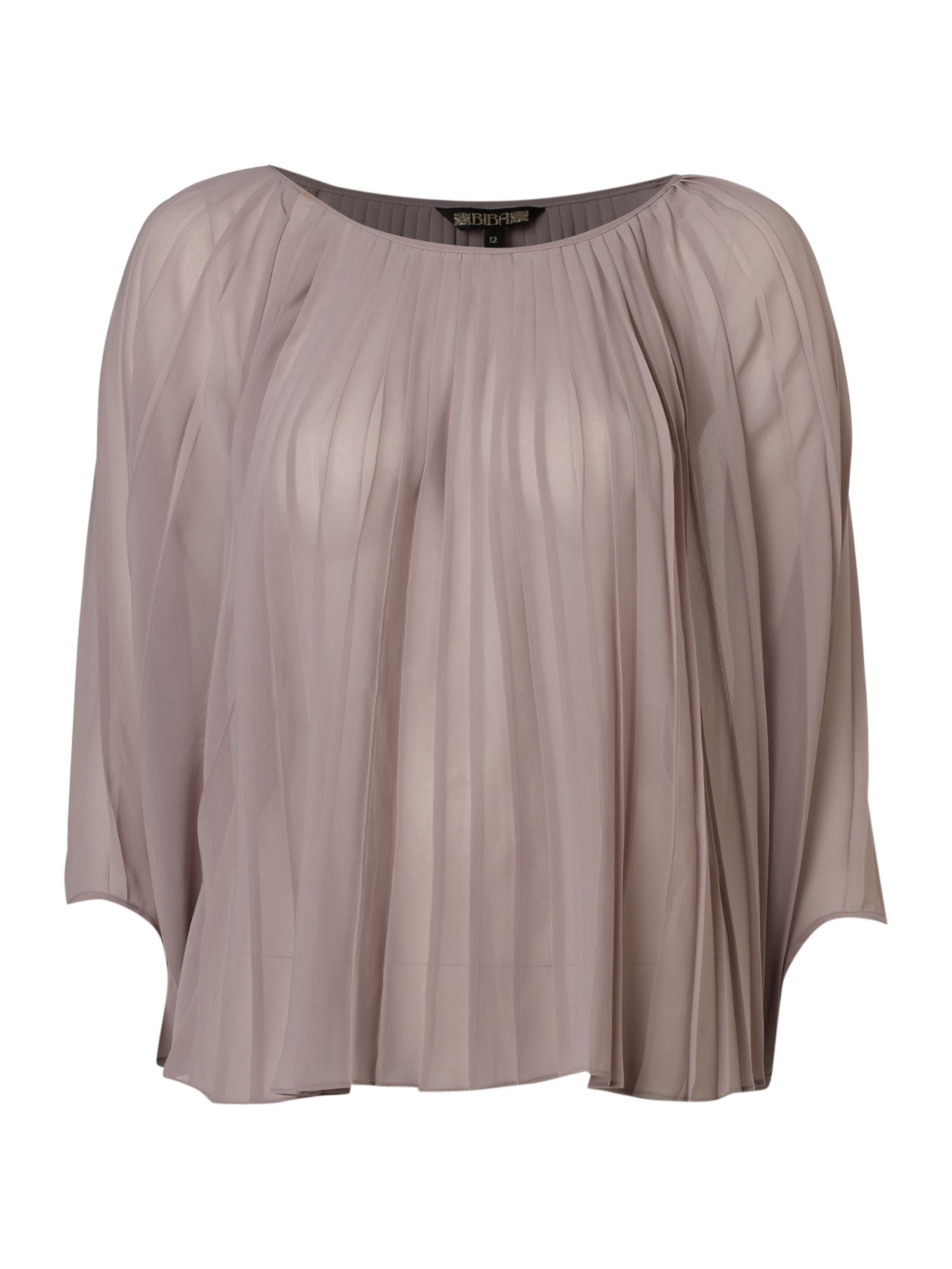 Womens Biba Pleated cape blouse, Mushroom