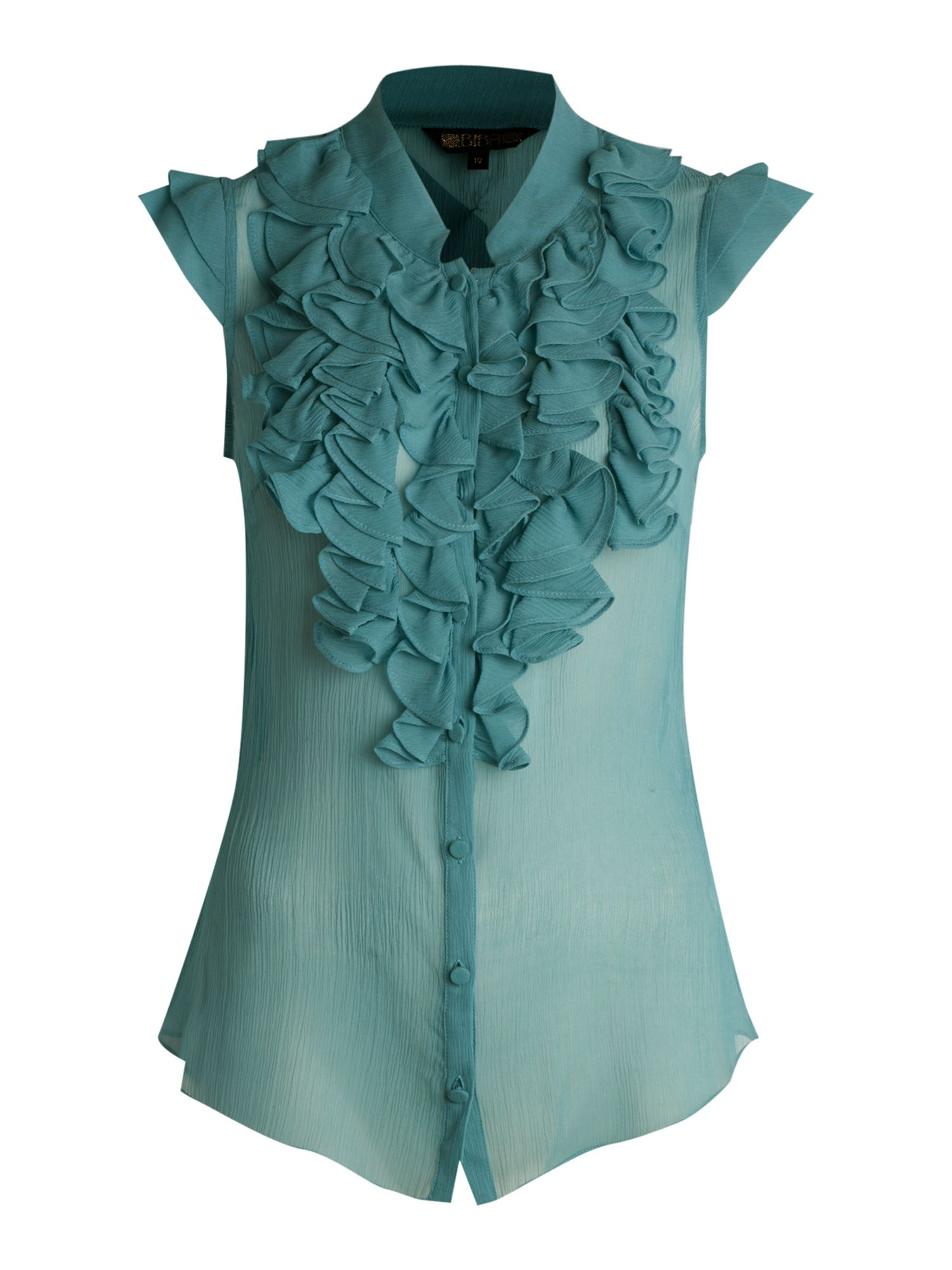 Sleeveless ruffle blouse - Green