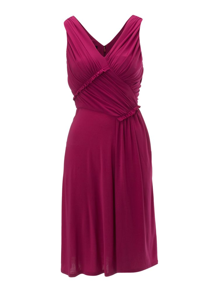 Linea-V-Neck-Sleeveless-Jersey-Dress-In-Raspberry