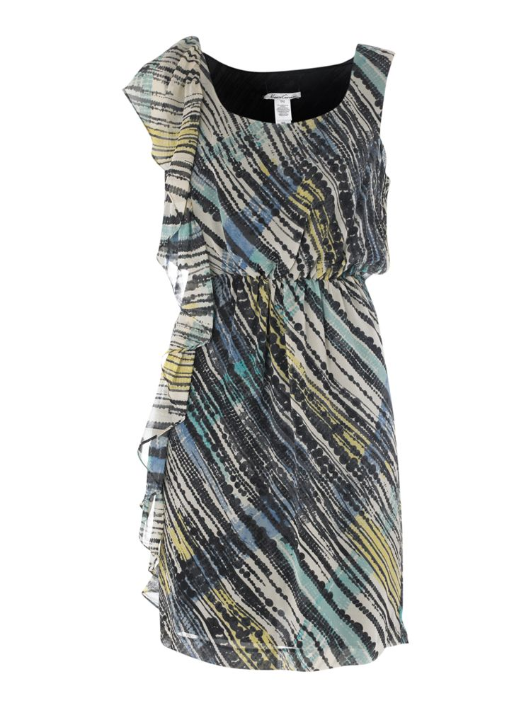 Kenneth-Cole-Striped-Lace-Silk-Dress-In-Stone