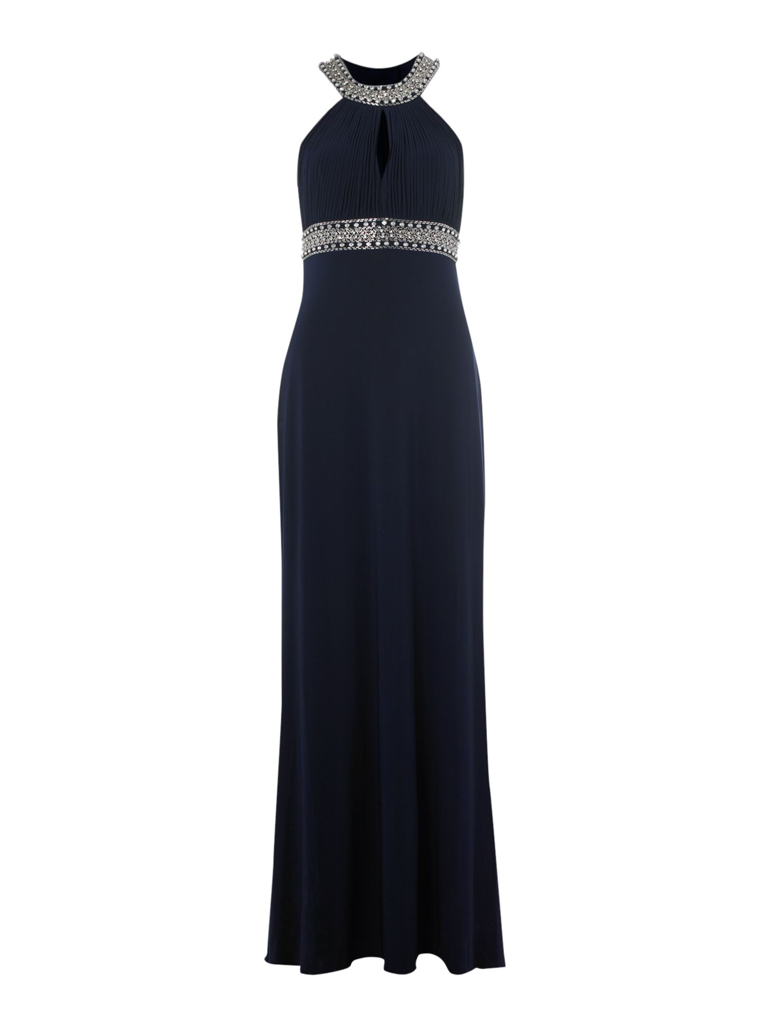 Beaded keyhole maxi dress
