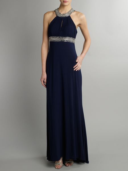 JS Collections Beaded keyhole maxi dress
