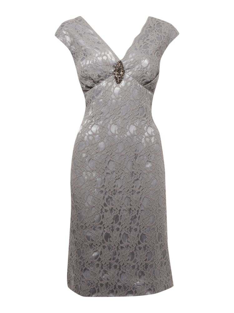 JS-Collections-V-Neck-Shift-Dress-In-Silver