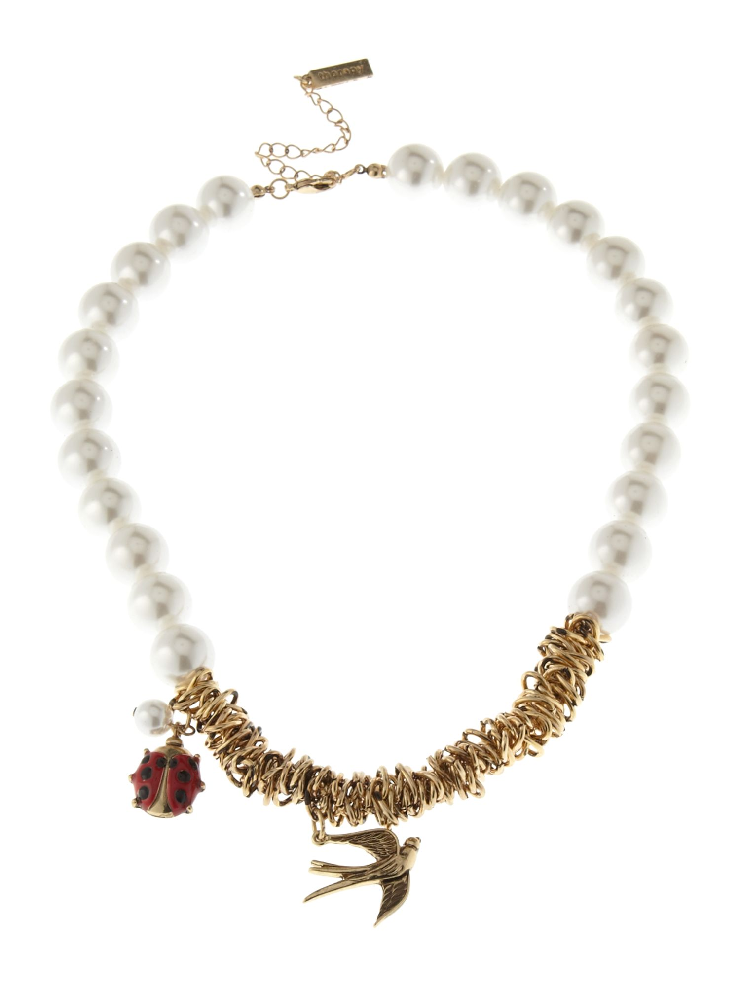 Therapy Ladybird faux pearl necklace