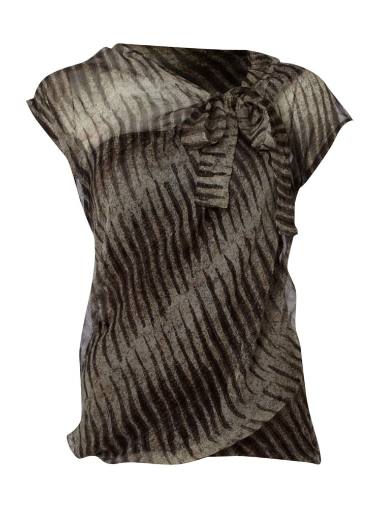 Max-Mara-Studio-Zebra-Print-Chiffon-Tie-Neck-Top-In-Brown