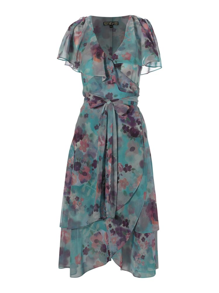 Biba vintage printed midi wrap dress in multi coloured for Quality classic house of fraser