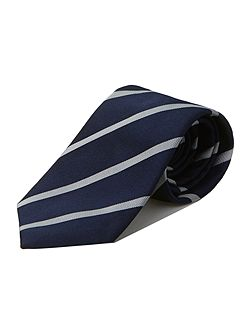 Navy white stripe silk tie