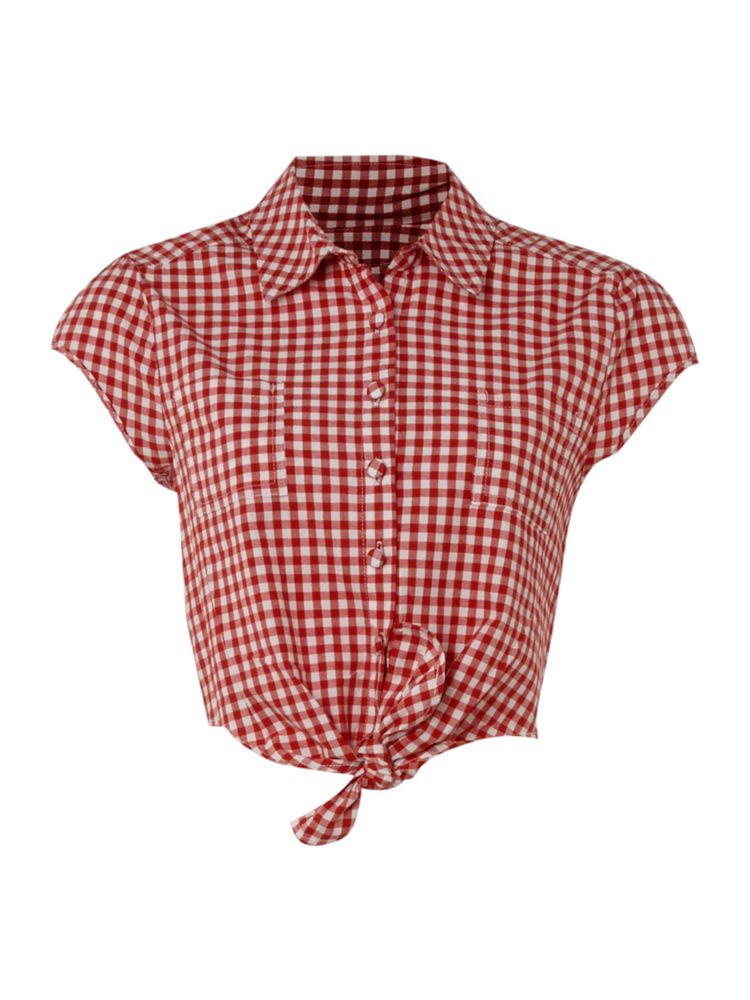 Therapy cap sleeve gingham tie front blouse in red ebay for Red and white gingham shirt women s