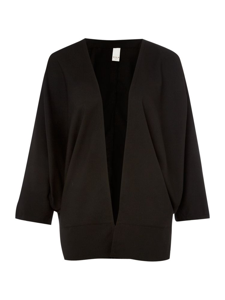 Vila-Plain-Cape-Cardigan-In-Black