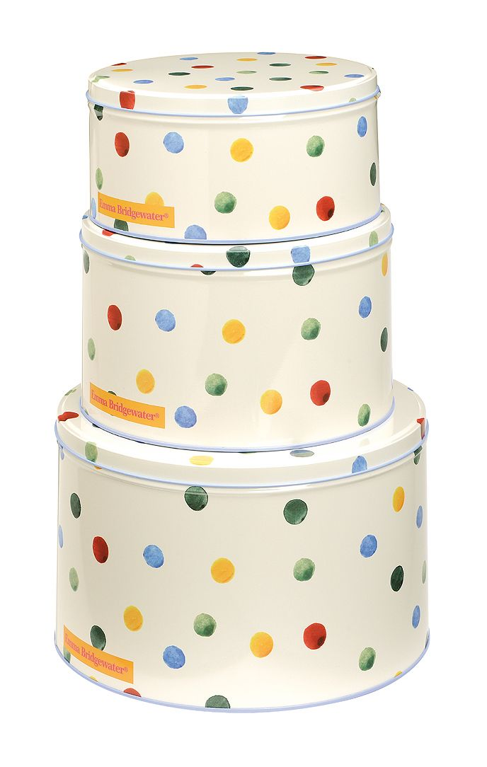 Polka dot set of 3 round cake tins