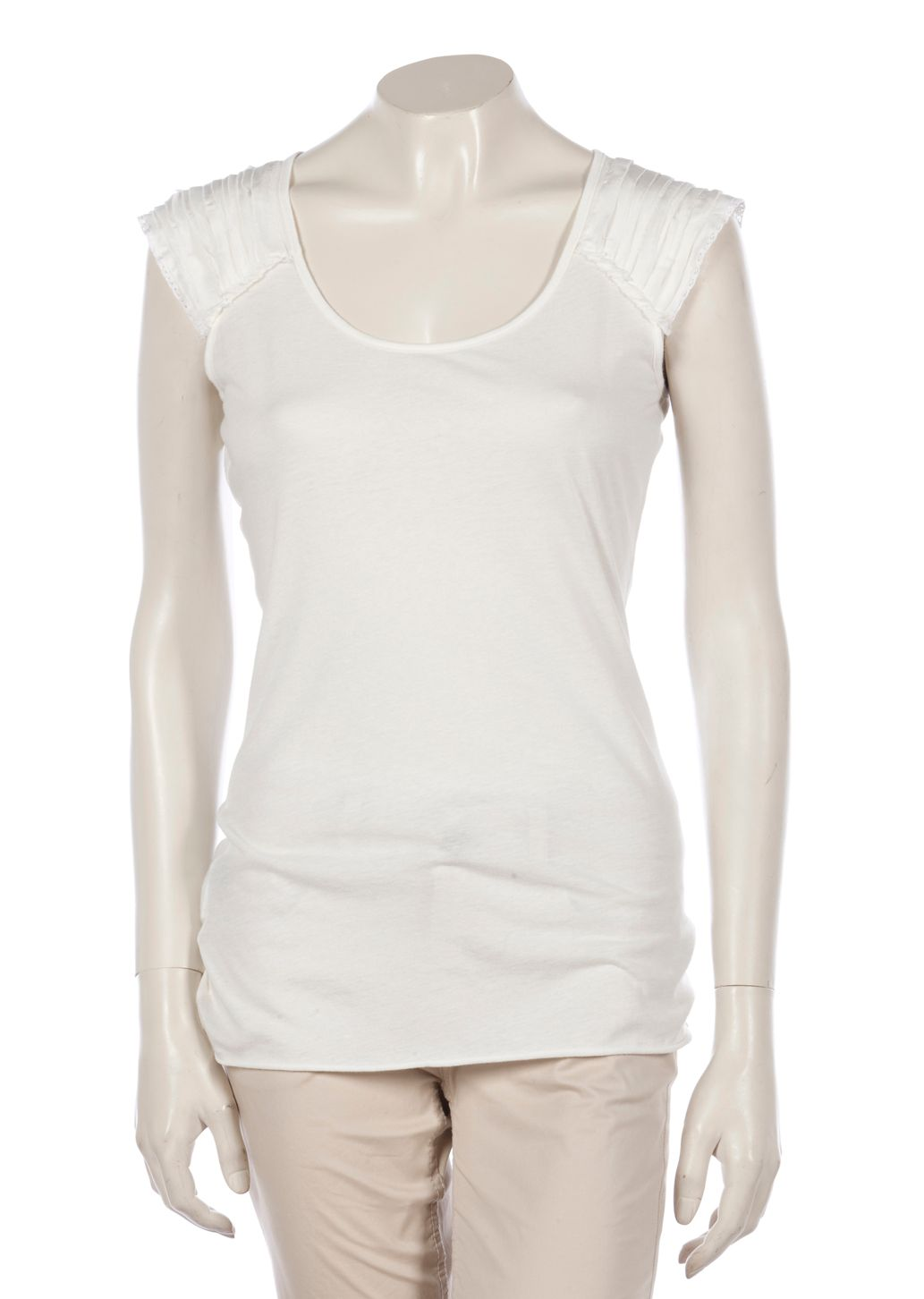 Stefanel Womens Stefanel T-shirt with rouches, Cream product image