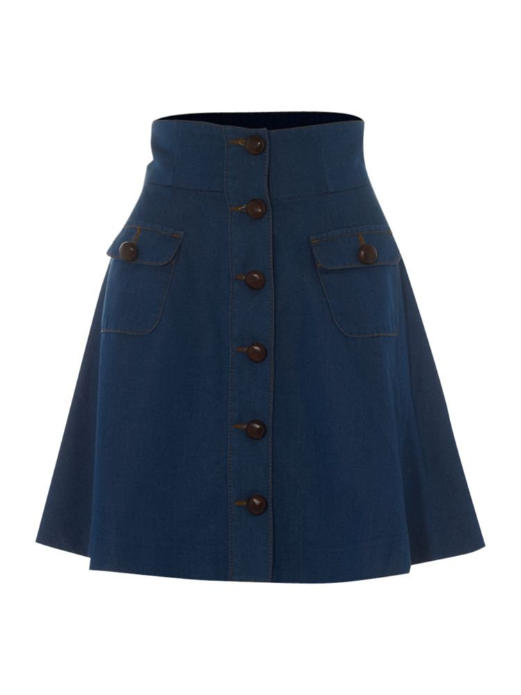 Therapy-Button-Through-Denim-Skirt-In-Blue-From-House-of-Fraser