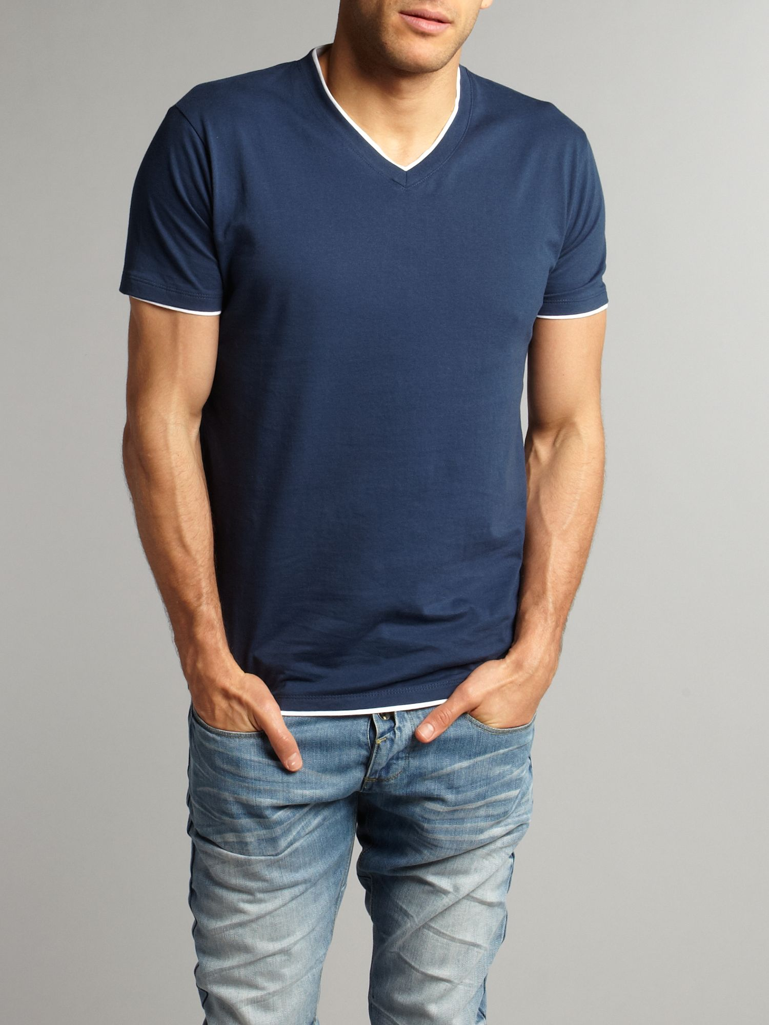 Selected Double layered V-neck T-shirt - Purple product image