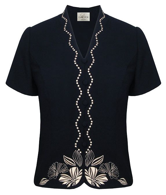 Eastex Embroidered crepe short sleeve blouse product image