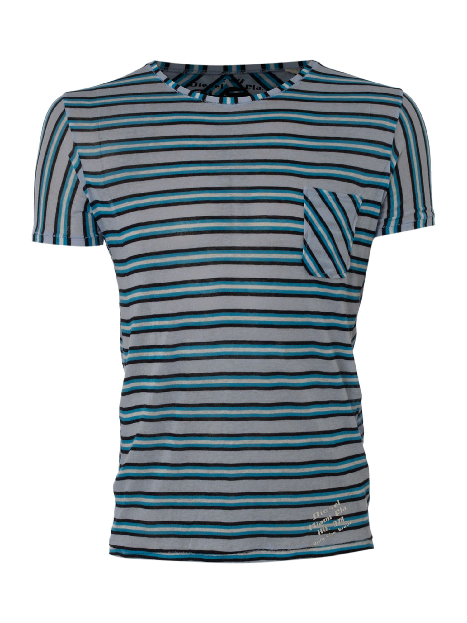 Diesel Mens Diesel Striped T-shirt, Sky Blue product image