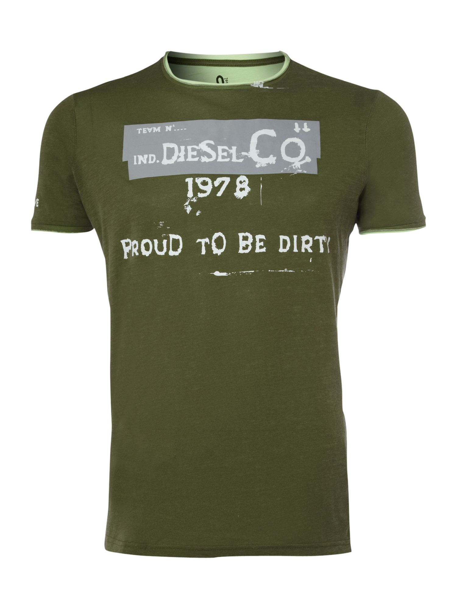 Diesel Mens Diesel Reflect logo T-shirt, Khaki product image