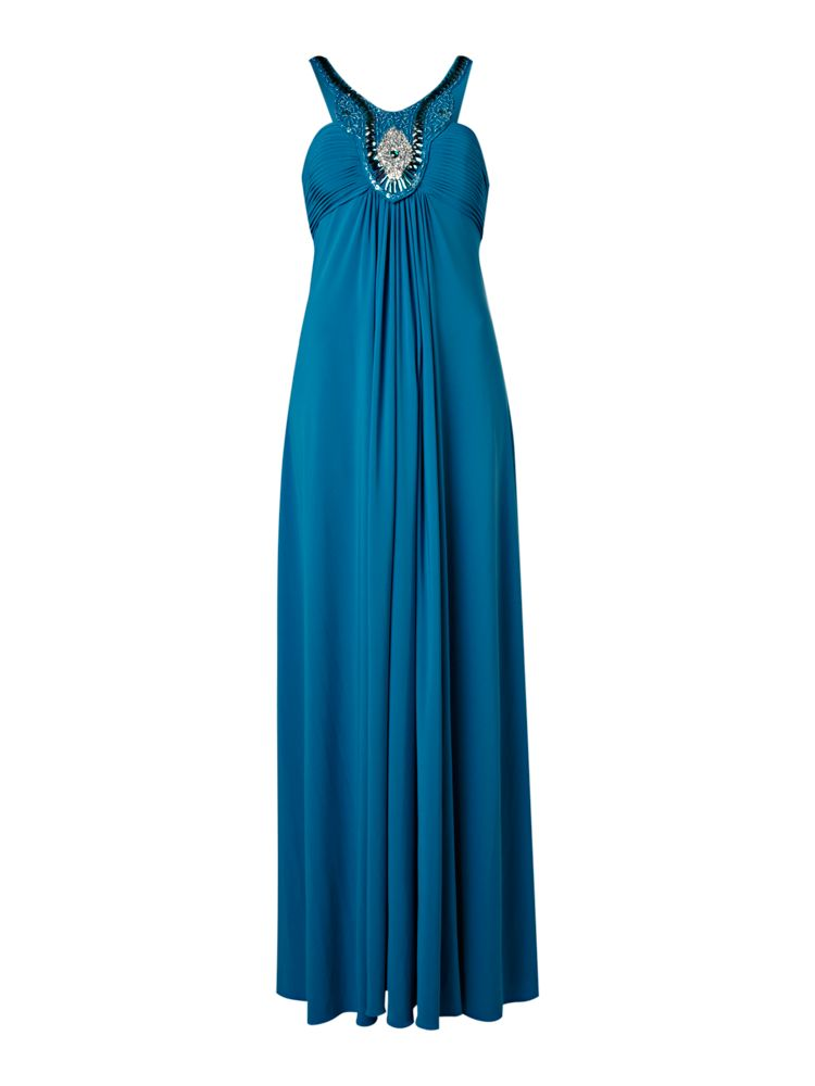 Untold-Long-Jersey-Dress-With-Ruched-Bust-And-Skirt-In-Azure