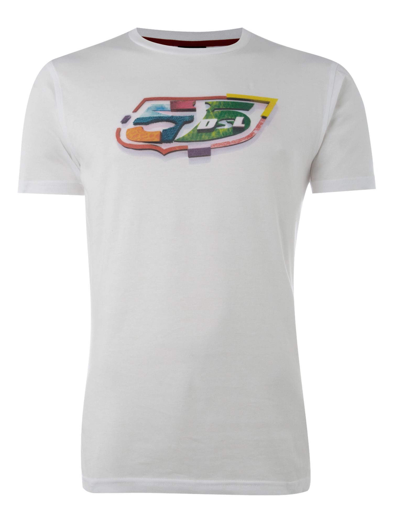 55 DSL Mens 55 DSL Colourful T-shirt, White product image