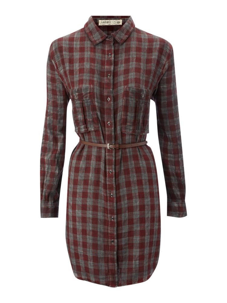 Label-Lab-Check-Long-Line-Shirt-Dress-In-Multi-Coloured