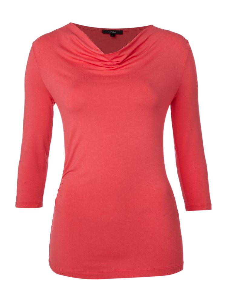 Linea-Cowl-Neck-Top-In-Coral